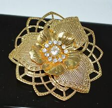 Stamped Brass 3D detailed Flower with Crystal Cluster Pin Brooch Tie Back Scarf