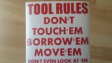 Tool Box Sticker Transfer /Vinyl Wall Art Decal Graphic Funny tool rules fun