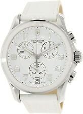 Victorinox Swiss Army Women's Classic 241500 White Leather Swiss Chronograph Wat
