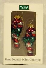 Candy Cane Hand Decorated Glass Hanging Christmas Ornament
