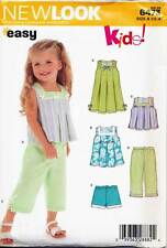 NEW LOOK SEWING PATTERN 6473 TODDLERS SZ ½-4 EASY DRESS TUNIC TOP PANTS, SHORTS