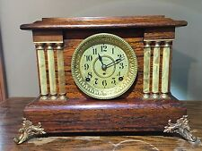 Antique Seth Thomas Adamantine 6 Column Mantel 8 Day Clock With Key