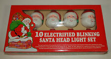 Vintage Xmas SANTA HEAD LIGHT COVERS Mini Light Strand BLOW MOLD Tested Working