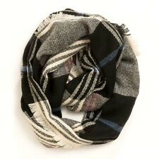 Anthropologie Infinity LOOP Black GRAY & Blue Plaid Cozy Wool CIRCLE Scarf NEW