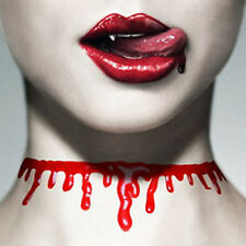 Blood Drip Necklace Halloween Zombie Red Horror Fancy Dress Party Neck Choker