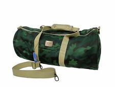 Pink Dolphin Mens Unisex Green Camo Leather Wool School Duffle Gym Bag
