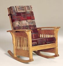Amish Mission Arts and Crafts Rocking Chair Bow Arm Slat Rocker Wood Upholstered