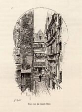 35 ST MALO UNE RUE A STREET IMAGE 1885 PRINT