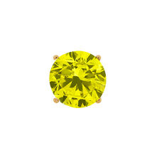 0.80 Ct Round Canary SI1-SI2 Diamond 18K Yellow Gold Men's Single Stud Earr