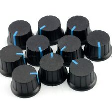 10X Black Cap Blue Mark Potentiometer Rotary Knob Shaft Hole 6mm Volume Control