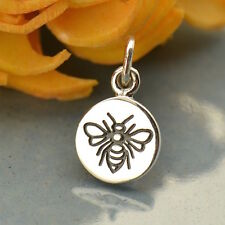 925 Sterling Silver Bee Honeybee Bumble Bee Insect Animal Etched Charm Pendant