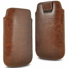 For - BLU Studio C Super Camera - Brown PU Leather Pull Tab Case Cover Pouch