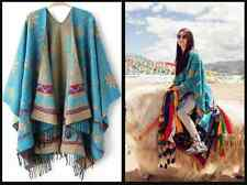 Boho Tribal Indie Bohemian Poncho Cape Jumper Womens Pullover Coat Wool Shawl
