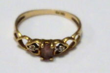Vintage Amethyst ring with diamond chip accents , 10k yellow gold, size 6