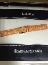 Baume Mercier Watch Band Leather New Linea Orange Lizard 14mm