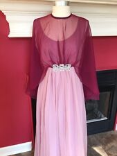 Vintage 1950-60s Emma Domb Cocktail Dress Sheer Chiffon Cape Grecian Goddess