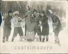 1926 Youths Frolic in Snow Poland Springs Maine Press Photo