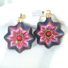 Dept. 56 Pair Purple Blue Glass Flower Christmas Ornaments