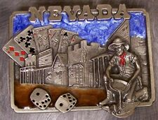 Pewter Belt Buckle State of Nevada colored NEW