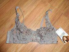 bra by Kathy Ireland ~ lace & mesh ~ unlined ~ taupe 34B 34 B   retail 30.00