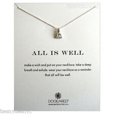 """Dogeared Sterling Silver Peaceful Buddha Charm & 16"""" Chain ALL IS WELL Necklace"""
