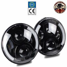 "LAND ROVER DEFENDER COPPIA 7 ""LED FARI x2 50W e marcati RHD 110 90 SPLIT HALO"