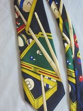 NWOT Mens Tie Beverly Hills Polo Club Billiards Pool Multi Cue Balls Rack Chaulk