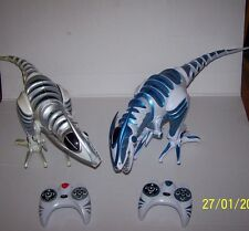 "2 WowWee ROBORAPTOR Blue & Gray 30"" Robotic Dinosaurs w/ remotes TESTED"