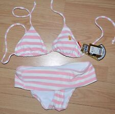 NEW Juicy Couture Pink Stripe 2 Piece Bikini NWT  Size S bathing suit TERRY