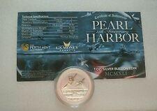 Lot of 2x 1 Oz. 75th Anniversary Pearl Harbor Pure Silver Coin W/COA in Capsule