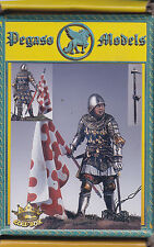 PEGASO MODELS 54-106 - ENGLISH KNIGHT WITH FLAG 1350-70 - 54mm WHITE METAL NUOVO