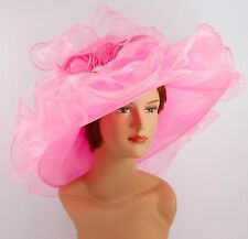 New Church Kentucky Derby Wedding Organza Wave Ascot Dress Hat DR-05 Pink