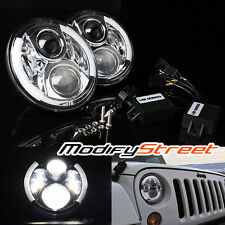 "7"" 80W CREE LED CHROME DRL ANGEL EYE PROJECTOR HEADLIGHTS FOR JEEP JK/TJ/LJ/CJ"