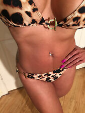 Sexy Leopard Print Bikini Set with Gold Metal Toggle Clasp Detail size M/L