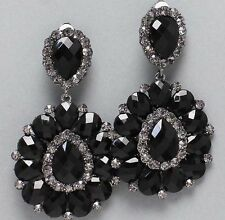 "3.25"" BiG Long Crystal Black Jet Rhinestone Bridal Earrings Drag Queen CLIP ON"