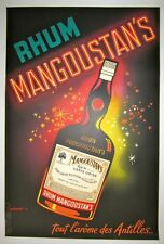 "Vintage 1930's French ""Rhum Mangoustan's"" Poster on Linen"