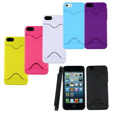 Hard Back Case Cover With ID Credit Card Slot Holder For Apple iPhone 5 5S CA