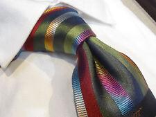 Steven Land Big Knot Silk tie Necktie green orange gray pink vertical stripe