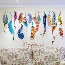 Classic Creative Dream Catcher Feather Wall Sticker Art Decal Mural Colorful R1