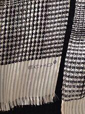 Vintage Echo Silk Scarf Oblong Cream&Black With Gold Lurex Threads Fringe Edges