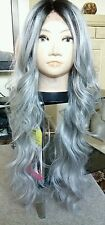 "100% human hair wig, blonde, silver, grey, lace front, real hair, 30"" long"