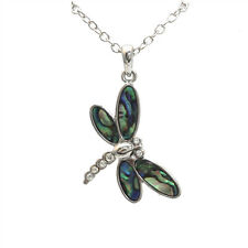 """Dragonfly Charm Pendant Fashionable Necklace - Abalone Paua Shell - 18"""" Chain"""