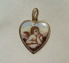 RARE Victorian 18Kt Gold Enamel HEART CHARM with ANGEL CHERUB Religious Medal