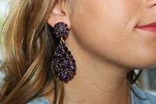Oscar De La Renta Haute Couture Crystal Pave Teardrop Earrings  Deep Purple