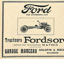 BOURGES GALOPIN & BOEUF GARAGE MARCEAU TRACTEURS FORD FORDSON PUBLICITE 1923