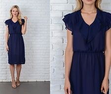Vintage 70s Navy Blue Boho Dress Tiered Flutter Slv Draped Slouchy Small S M