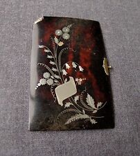 ANTIQUE LATE 1800s FLOWERS SILVER & MOP INLAID CELLULOID PURSE OR BOOK TOP COVER