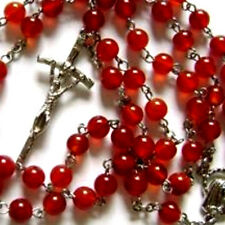 RED Rare Natural Carnelian Agate ROSE BEAD ROSARY CROSS catholic necklace