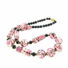 Venetian Pink Rose Foil Glass Bead Necklace 20 in