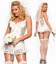 SEXY WOMENS LADIES BRIDE TO BE HEN  DOO PARTY FANCY DRESS LINGERIE WEDDING NIGHT